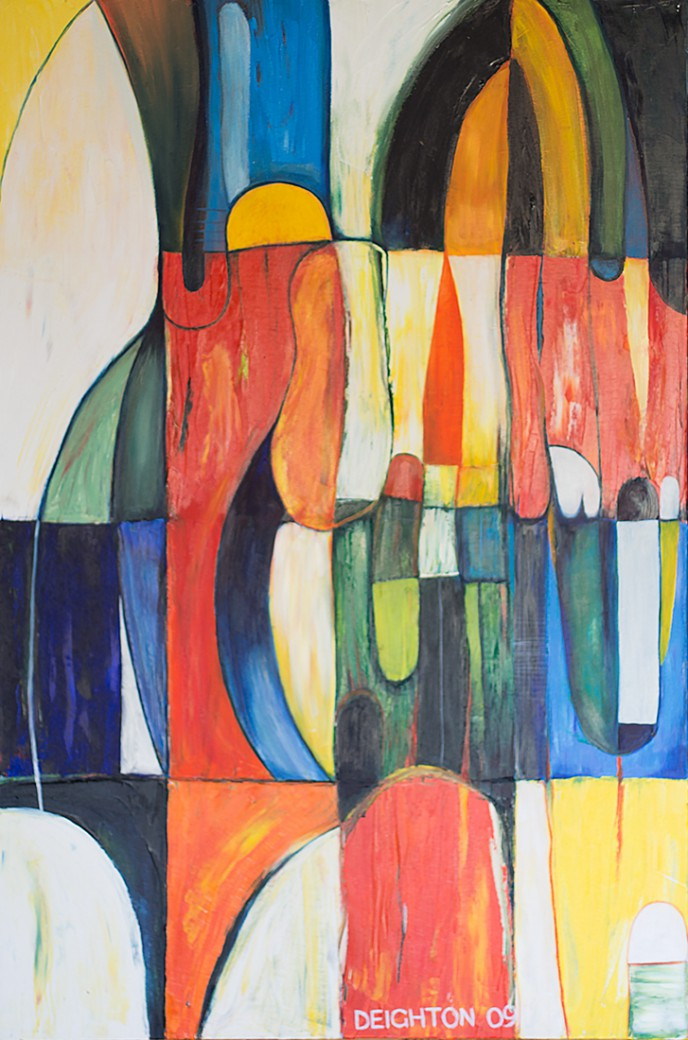 Andalucia, abstract expressionist oil on canvas painting by Waiheke Island, New Zealand artist Simon Deighton