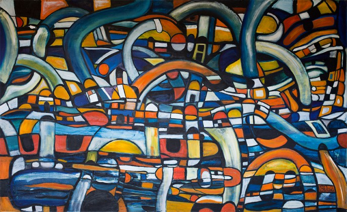 City in My Mind, abstract expressionist oil on canvas painting by Waiheke Island, New Zealand artist Simon Deighton