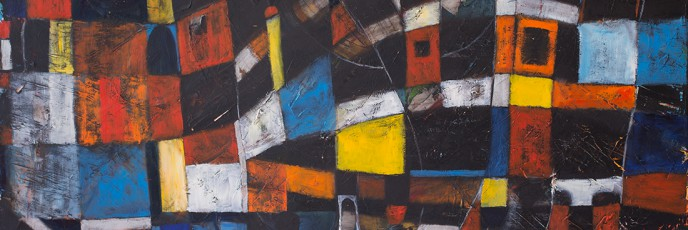 Cityscape 2 abstract expressionist oil on canvas painting by Waiheke Island, New Zealand artist Simon Deighton