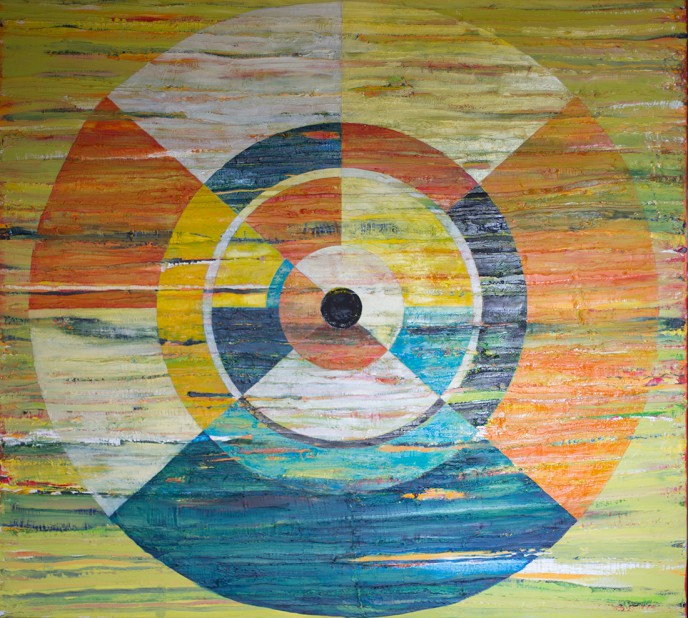 Concentric Investigation abstract expressionist oil on canvas painting by Waiheke Island, New Zealand artist Simon Deighton