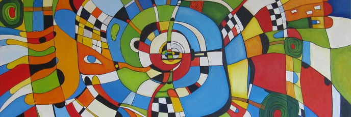 Hypnotic Life, abstract expressionist oil on canvas painting by Waiheke Island, New Zealand artist Simon Deighton
