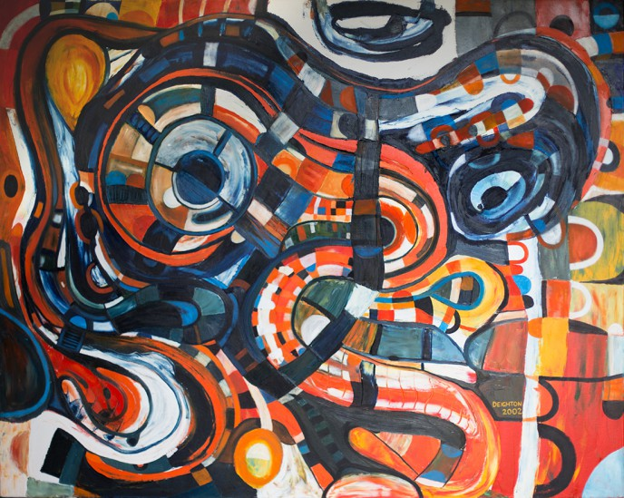 Taniwha, an Oil on Canvas abstract expressionist painting by Waiheke Island, New Zealand artist Simon Deighton