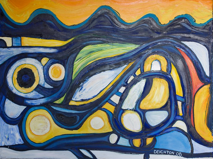 Twilight Fields - Southland abstract expressionist oil on canvas painting by Waiheke Island, New Zealand artist Simon Deighton