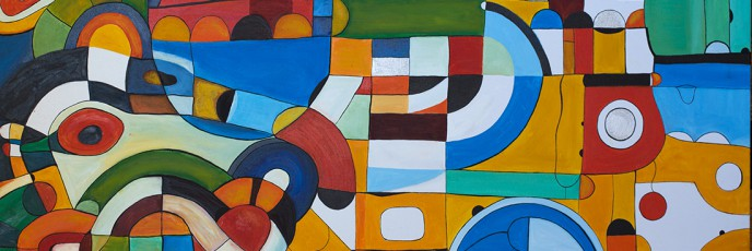 Yellow Submarine, an abstract expressionist oil on canvas painting by Waiheke Island, New Zealand artist Simon Deighton