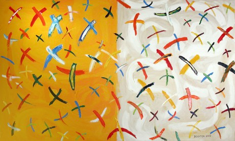 Flock, Oil on Canvas, painting by Simon Deighton, 2002