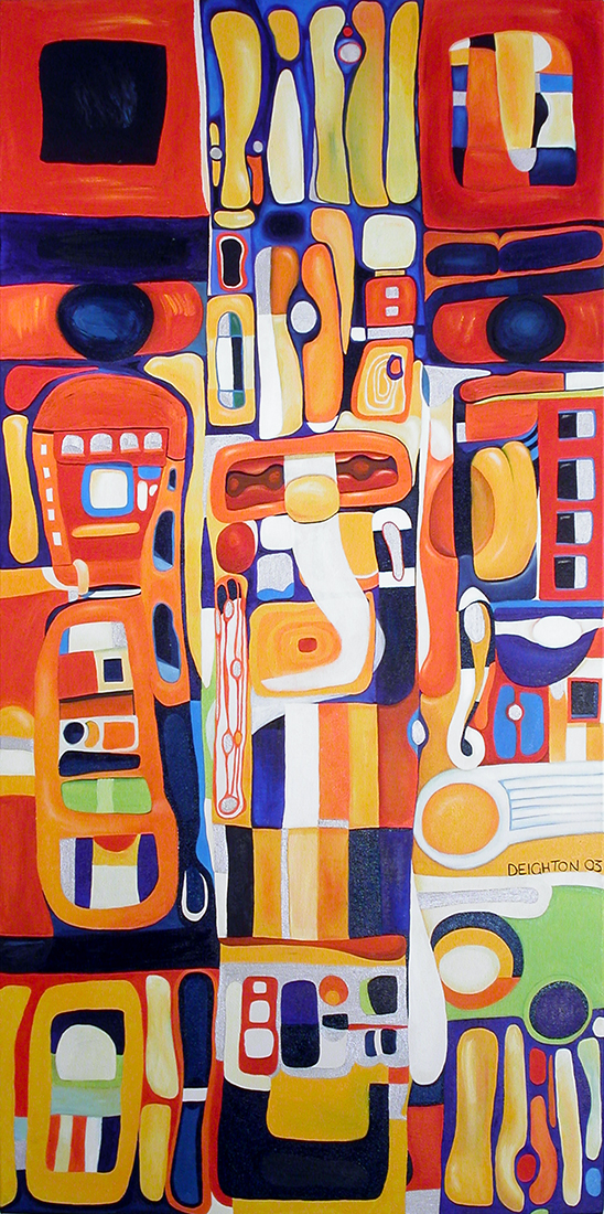 Totem, abstract expressionist oil on canvas painting by Waiheke Island, New Zealand artist Simon Deighton 2003 - 2011